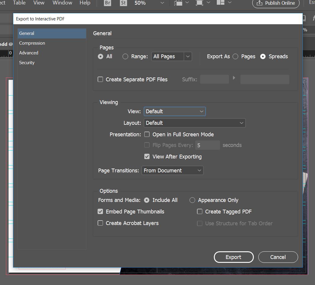 export interactive pdf indesign online viewing