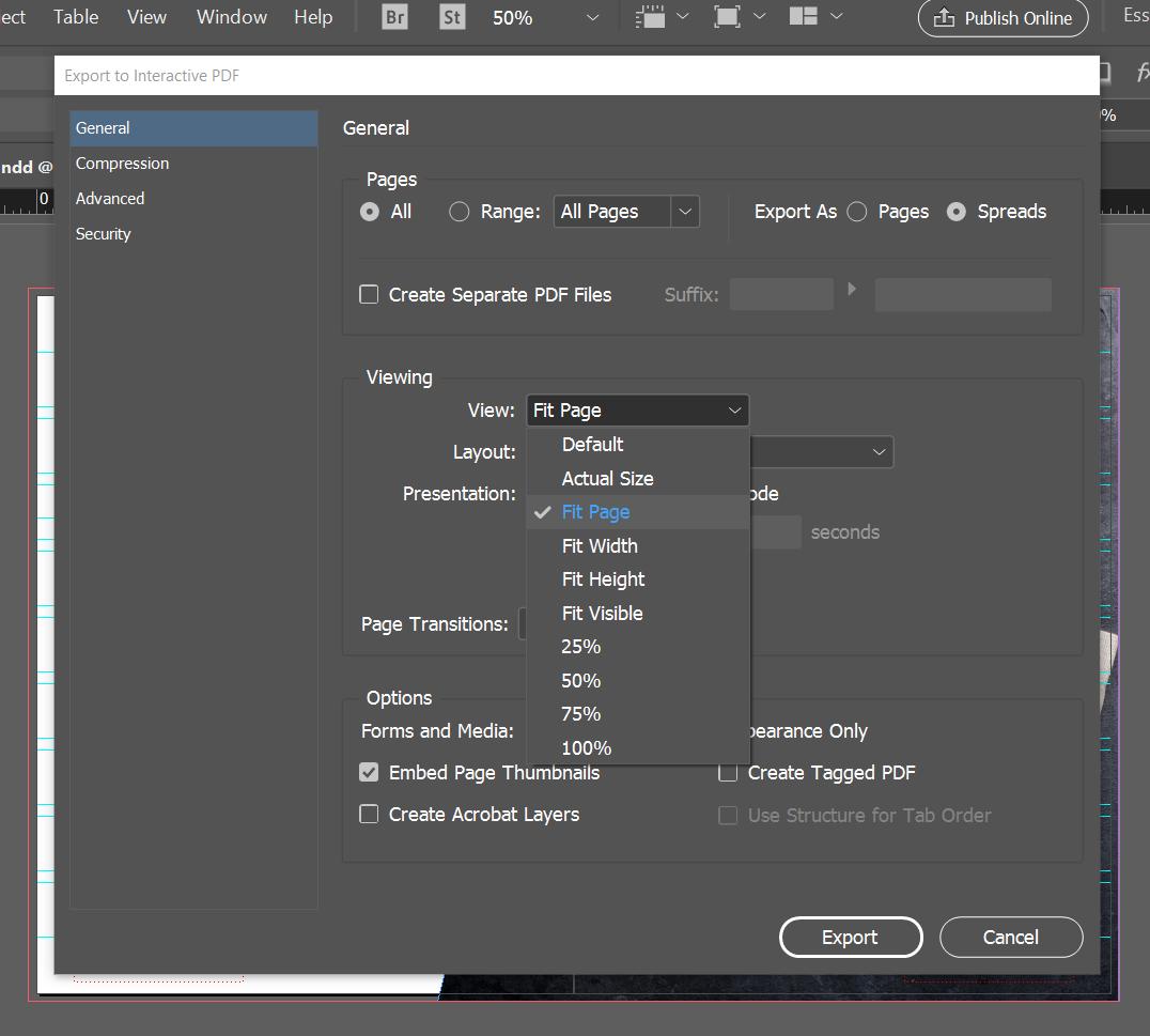 export interactive pdf indesign online viewing default