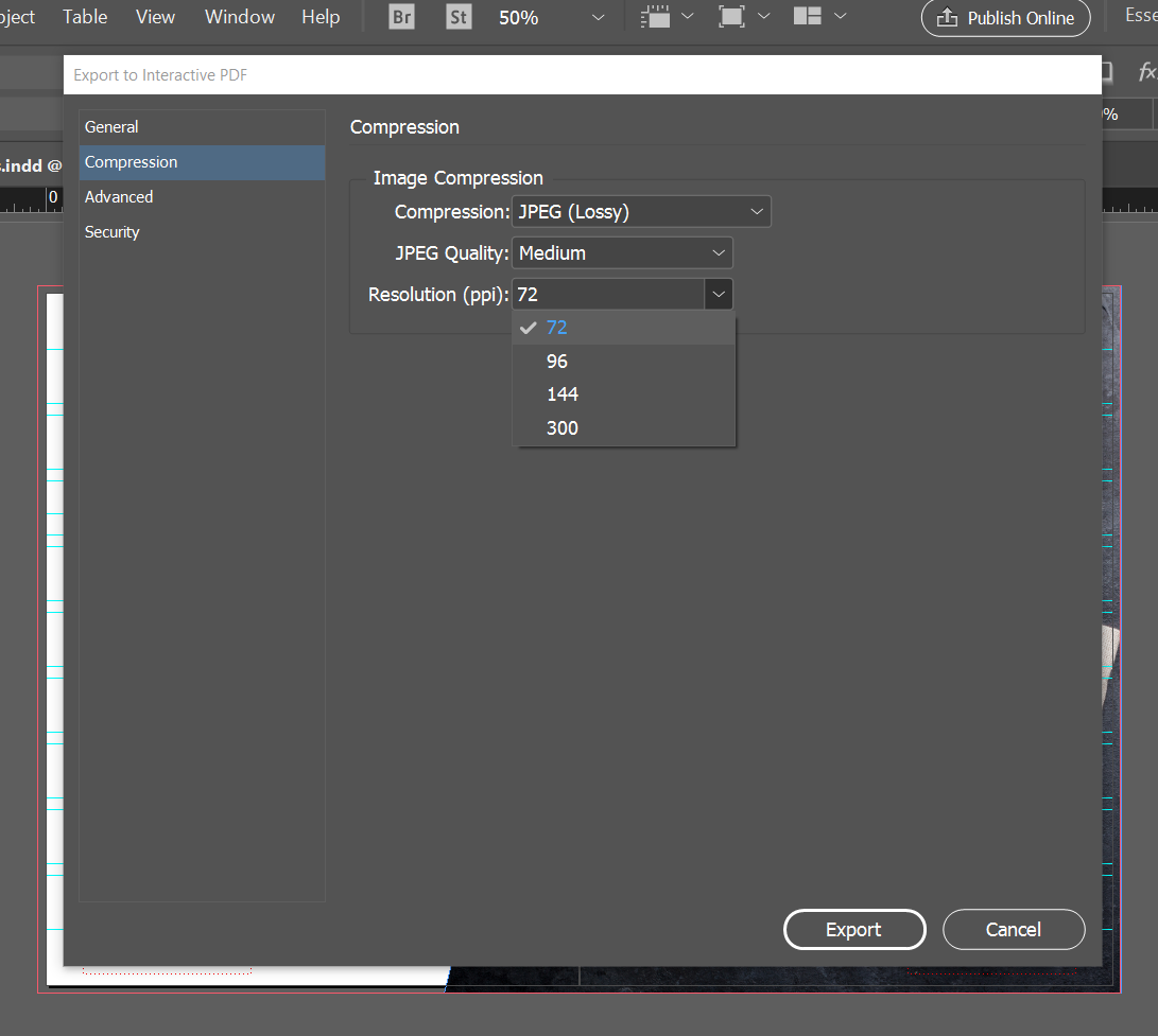 export interactive pdf indesign online viewing image quality
