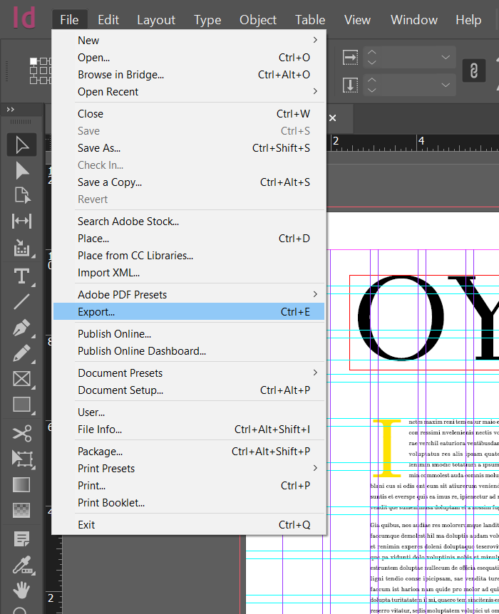 export indesign document to pdf