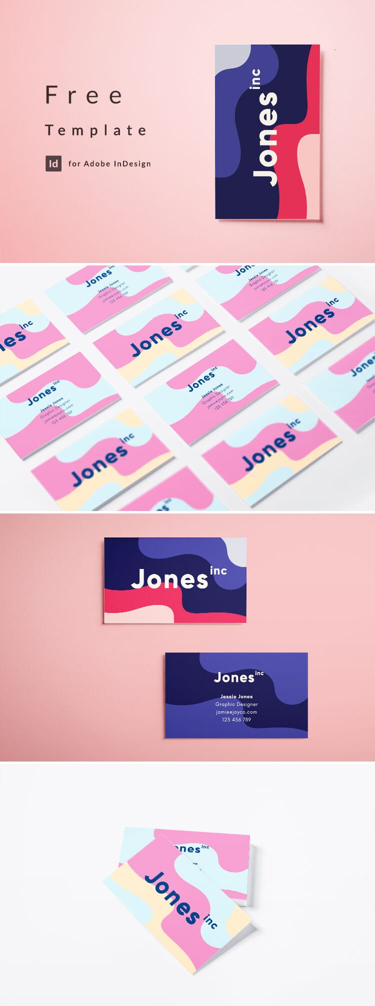 Eighties business card layout. Wavey, graphic, colorful design for creatives. Free to download. Free Template for InDesign CC.