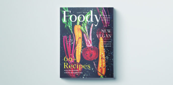 Free food magazine cover template. Free download for InDesign.