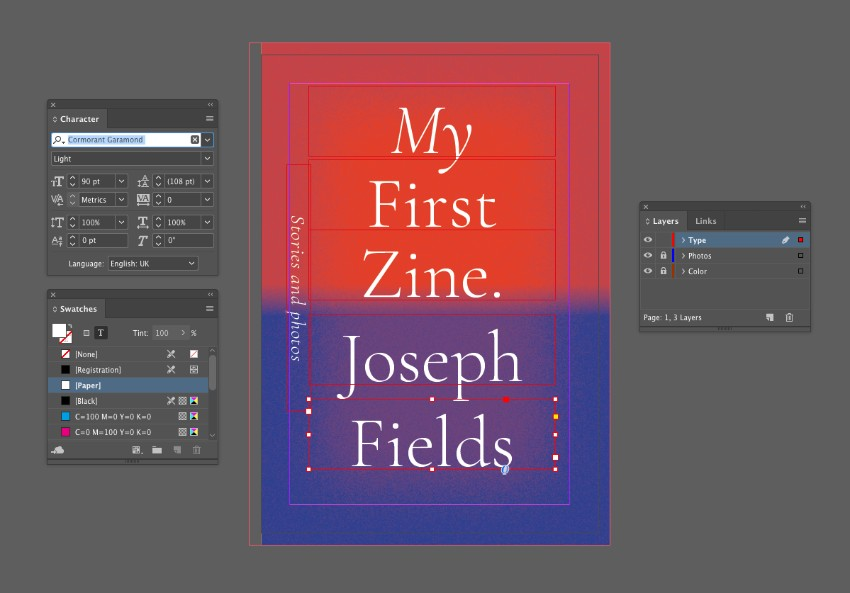 zine design indesign template front cover