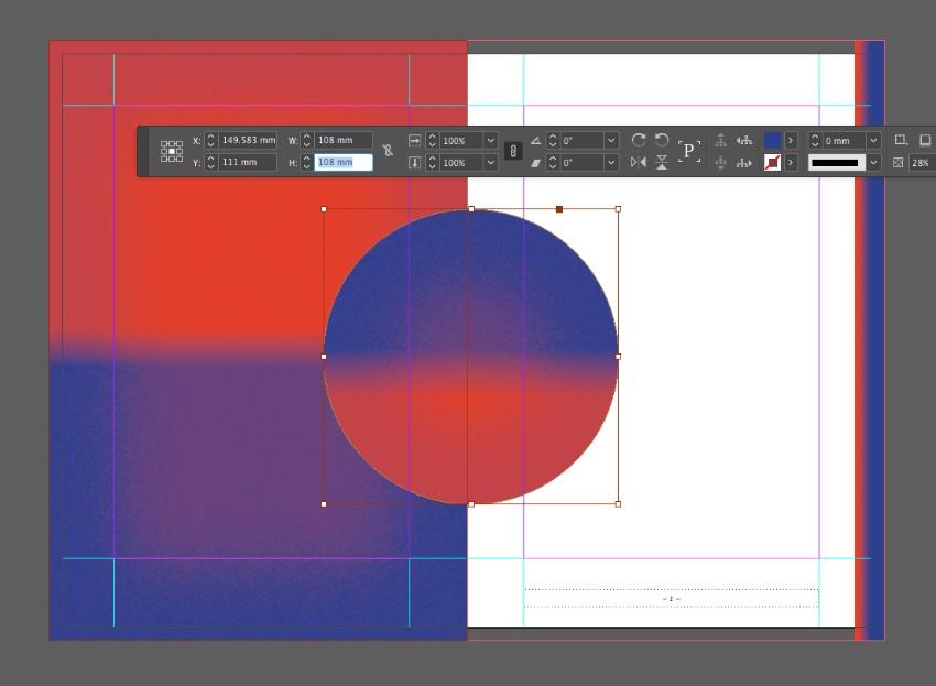 zine design indesign template circle gradient