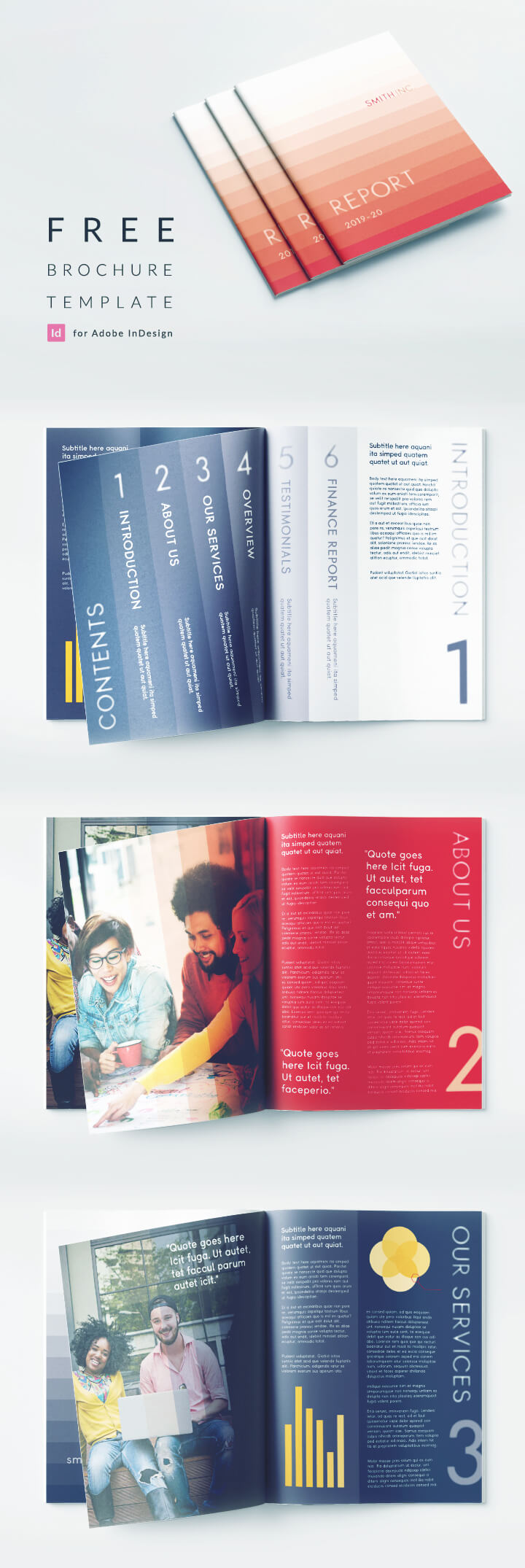Bi Fold Brochure Template for InDesign with a Corporate theme. Perfect for a business report. Free download for InDesign, smart red and blue corporate color scheme.