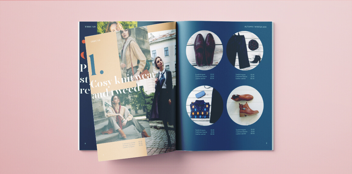 InDesign free catalog or lookbook template - modern fashion catalog template for InDesign.
