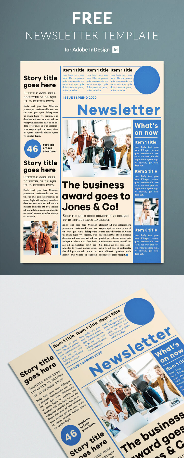 Free newsletter template - blue modern design. Modern clean layout for your company's newsletter. Free to download.