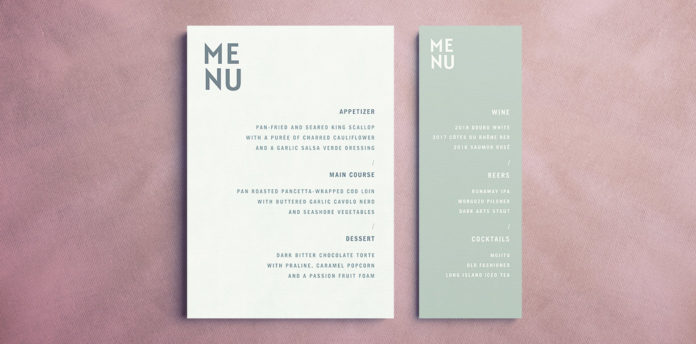free indesign menu template wedding menu events menu restaurant menu