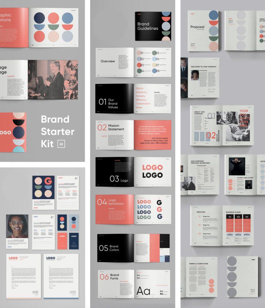 indesignskills brand starter kit indesign templates for brand identity business logo business branding freelancer startup